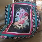 Throw Quilt Black and Pink Floral Patchwork - Handmade Cotton for Laps or Naps