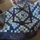 Pieced Throw Quilt Purple Multi Color Patchwork Design for Lap or Nap - Handmade Cotton