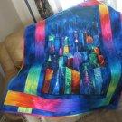 Pieced Throw Quilt City Skyline at Night Design - Handmade Cotton