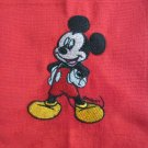 Kitchen Tea Towel Disney Mickey Mouse Embroidered on Red Cotton