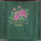 Kitchen Tea Towel Pink Roses Flower Basket Embroidered on Green Cotton
