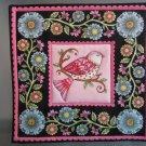 Pink Bird Print, Use for Mug Rug, Pot Holder or Casserole Hot Mat