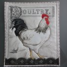 Large Pot Holder Poultry, Rooster Black Stripe, Chicken,  Farm Design Hot Mat, Hot Pad