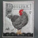 Large Pot Holder Poultry, Black Stripe Hen, Chicken,  Farm Design Hot Mat, Hot Pad