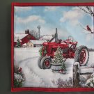 Pot Holder Country Christmas Tractor Design Cotton Casserole Hot Mat, Hot Pad