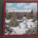 Pot Holder Country Christmas Covered Bridge Design Cotton Casserole Hot Mat, Hot Pad