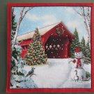 Pot Holder Country Christmas Barn Design Cotton Casserole Hot Mat, Hot Pad