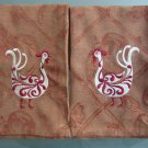 Tea or Dish Kitchen Towels Embroidered Cotton Rooster Pair on Jacquard Design