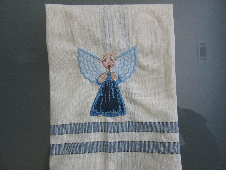 Tea or Dish Kitchen Towels Uniquely Embroidered Cotton Applique Angel