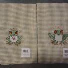 Tea or Dish Kitchen Towels Embroidered Cotton Frog Royalty Pair