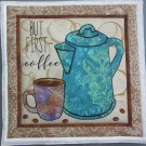Use for Mug Rug, Pot Holder or Hot Mat - Handmade Coffee Pot Print with Bean Back