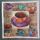 Use for Mug Rug, Pot Holder or Hot Mat - Handmade Fall Colors Cup Print