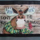 Large Pot Holder Woodsy Camping Don't Pick the Flowers Moose