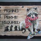 Large Pot Holder Woodsy Camping Fishing Permit Required Racoon