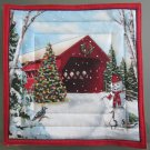 Pot Holder Country Christmas Red Covered Bridge Design Cotton Casserole Hot Mat, Hot Pad