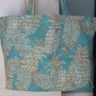 NEW Lg Tommy Bahama Print Folding Eco Friendly Tote Bag with Cell Phone Pocket - Aqua Pineapple