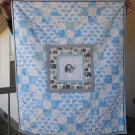 Pieced Quilt Elephant Print with Embroidery for Baby or Toddler One of a Kind