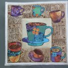 Use for Mug Rug, Pot Holder or Hot Mat - Handmade Turquoise Cup Print with Bean Back