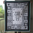 Small Quilt Black & White Baby Teddy for Infant or Toddler One of a Kind Cotton