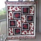 Pieced Throw Quilt Roses Galore Design - Handmade Cotton for laps or naps