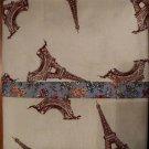 Pillow Case Beige Eiffel Tower Print fits Standard or Queen Size Handmade Cotton