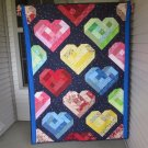 Pieced Small Throw Quilt Unique One of a Kind Rebel Girl Hearts- Handmade Cotton