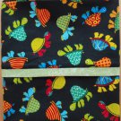 Unique Designs Pillow Case Turtles on Black Fits Queen or Standard - Handmade