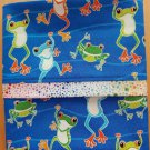 Unique Designs Pillow Case Blue Happy Frogs Fits Queen or Standard - Handmade
