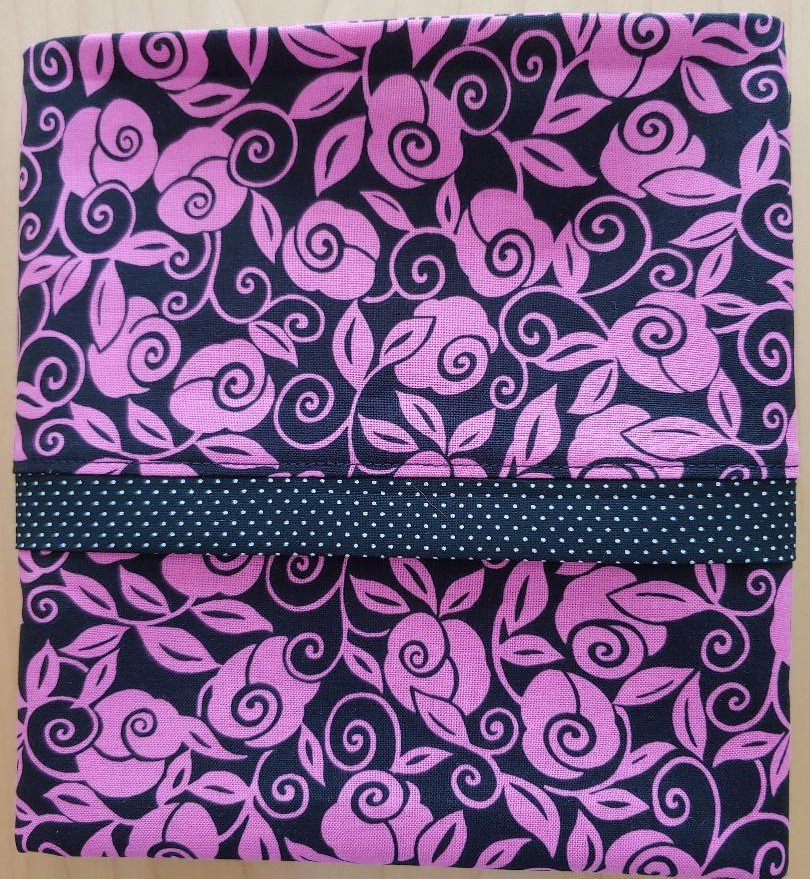 Unique Designs Pillow Case Pink Roses on Black Fits Queen or Standard - Handmade