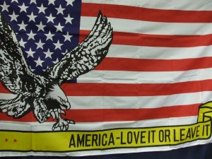"""Flag- Eagle with Banner That Says """"America Love It Or Leave It"""""""