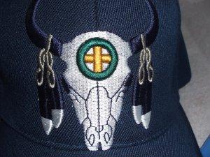 Buffalo Skull with Feather Baseball Style Hat