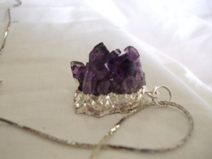 Amethyst Cluster on a Silver Chain