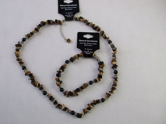 Tiger Eye, Picture Jasper, and Blackstone Set- Necklace and Bracelet