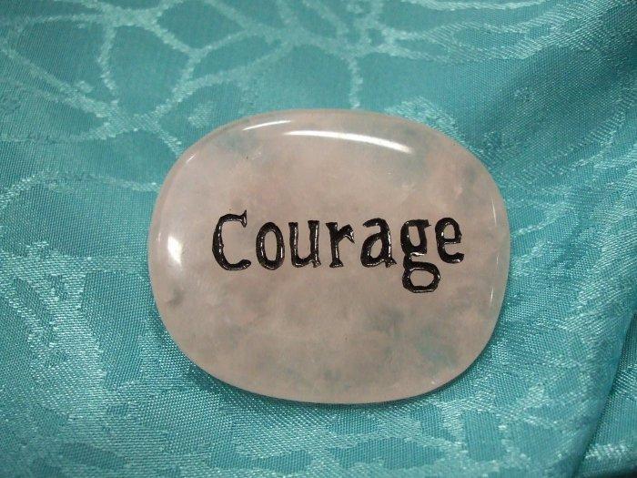 Rose Quartz spirit stone with the word courage