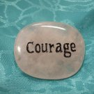 Rose Quartz spirit stone with the word courage