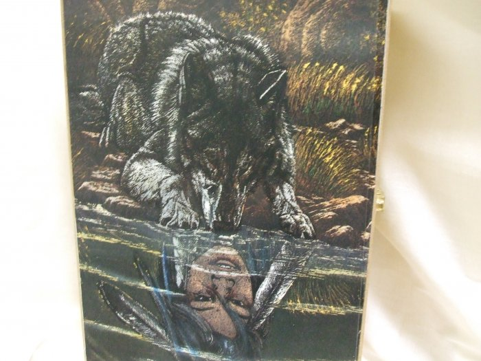 Wooden Box With A Wolf Peering Into The Water With An Indian Woman Reflection