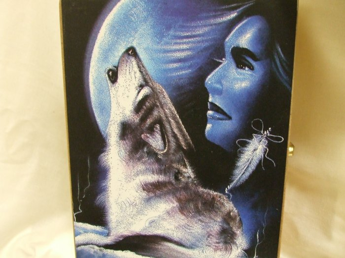 Wooden Box With A Wolf And An Indian Woman