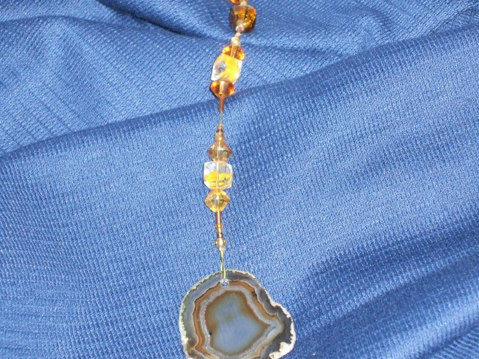 Beautiful Agate Slice and Glass Beads Suncatcher/Hand-Crafted