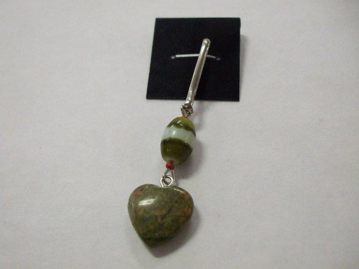 Ukanite Heart Zipper Dangle HandCrafted
