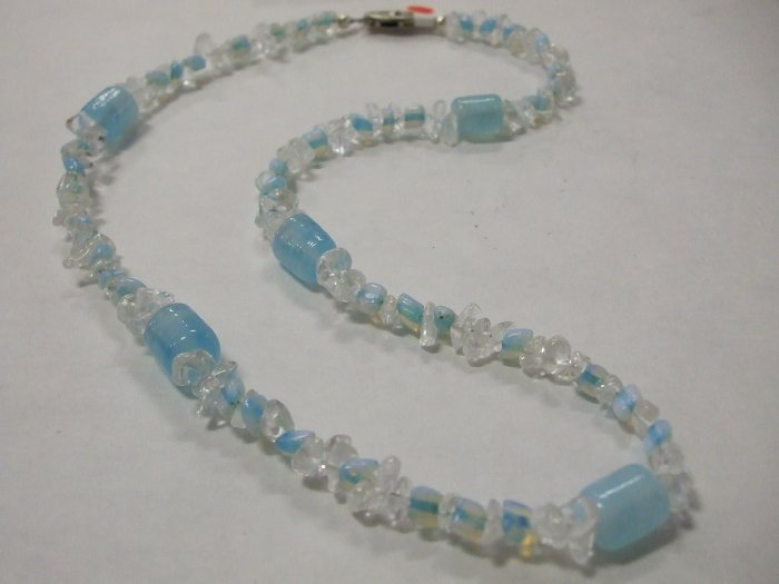 Beautiful HandCrafted Quartz Chip and Blue Necklace