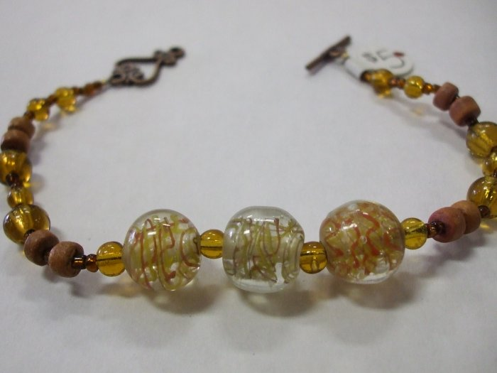 Hand Crafted Bracelet Glass and Wood Beads