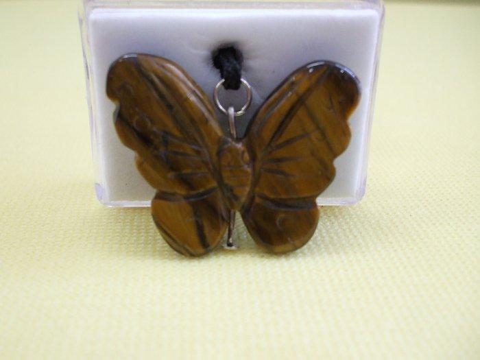 Tigereye Genuine Gemstone Butterfly Necklace    (EN13)