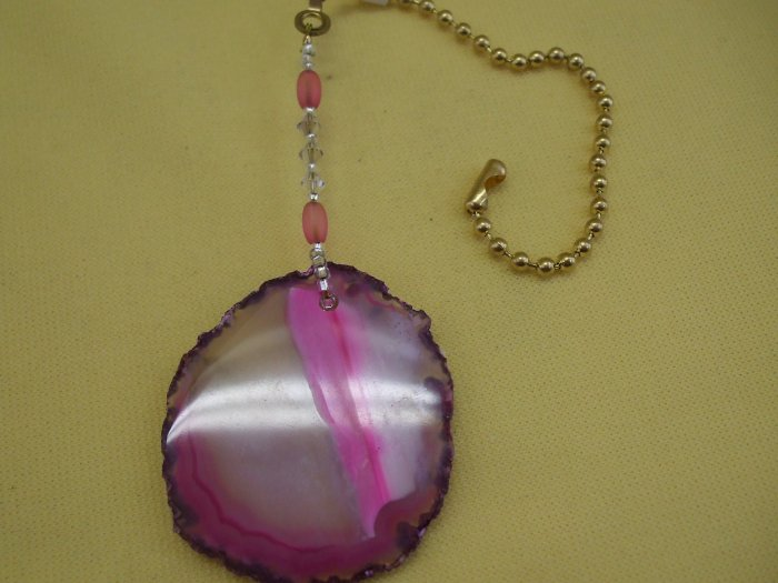 Ceiling Fan Pull Pink Agate Slice Hand Crafted (EP05)