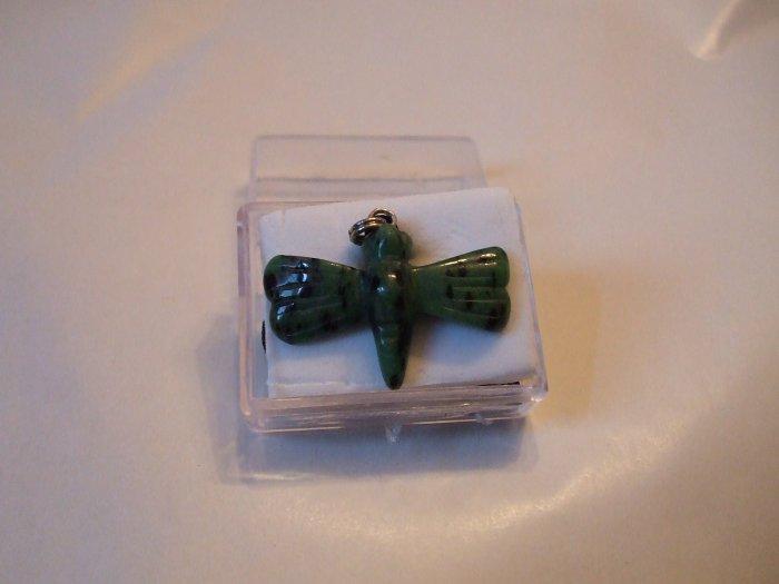 Dragonfly Gemstone Necklace Green Dalmation Jasper    (EN04)