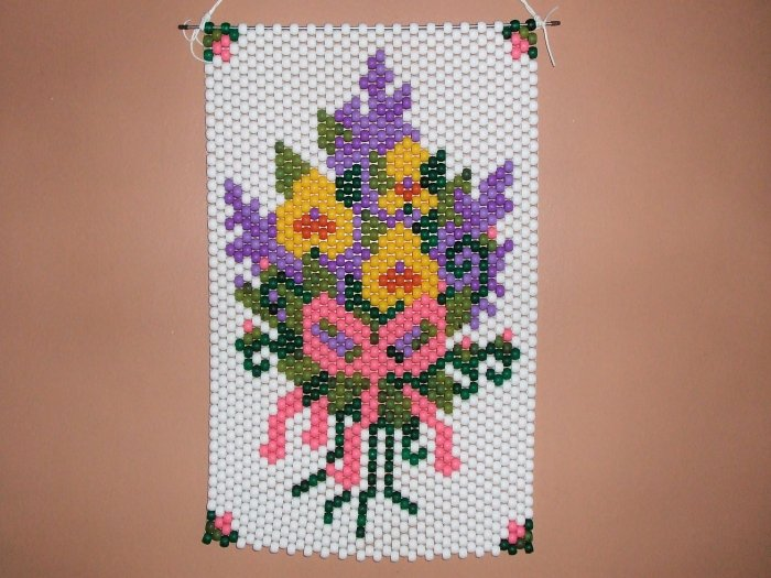 Flower Bouquet Wall Hanging Banner Hand Crafted