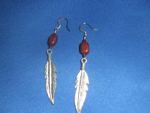 Feather and Gold Stone Hand Crafted Earrings