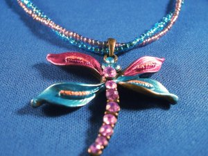 Dragonfly Two Strand Necklace Hand Crafted