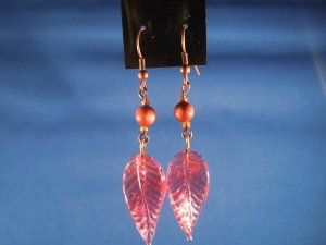 Leaf and Gold Stone Earrings Hand Crafted