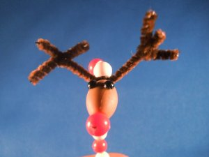 Set of Six Candy Cane Reindeer Ornaments