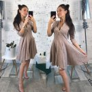 Women Long Sleeve Sexy Mini Dress Solid V-Neck Pleated A-Line Dresses Zippers Party Bodycon Dress